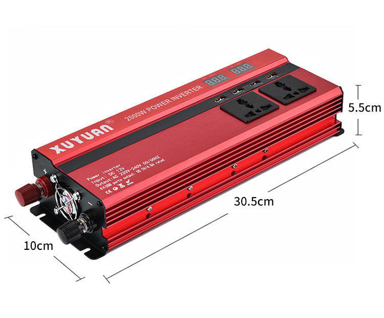 Auto Portable 2000W Power Car Inverter with LCD Display 12V-220V Automotive Converter 4 USB Ports real power 900W 0.9KW inverterAuto Portable 2000W Power Car Inverter with LCD Display 12V-220V Automotive Converter 4 USB Ports real power 900W 0.9KW inverter
