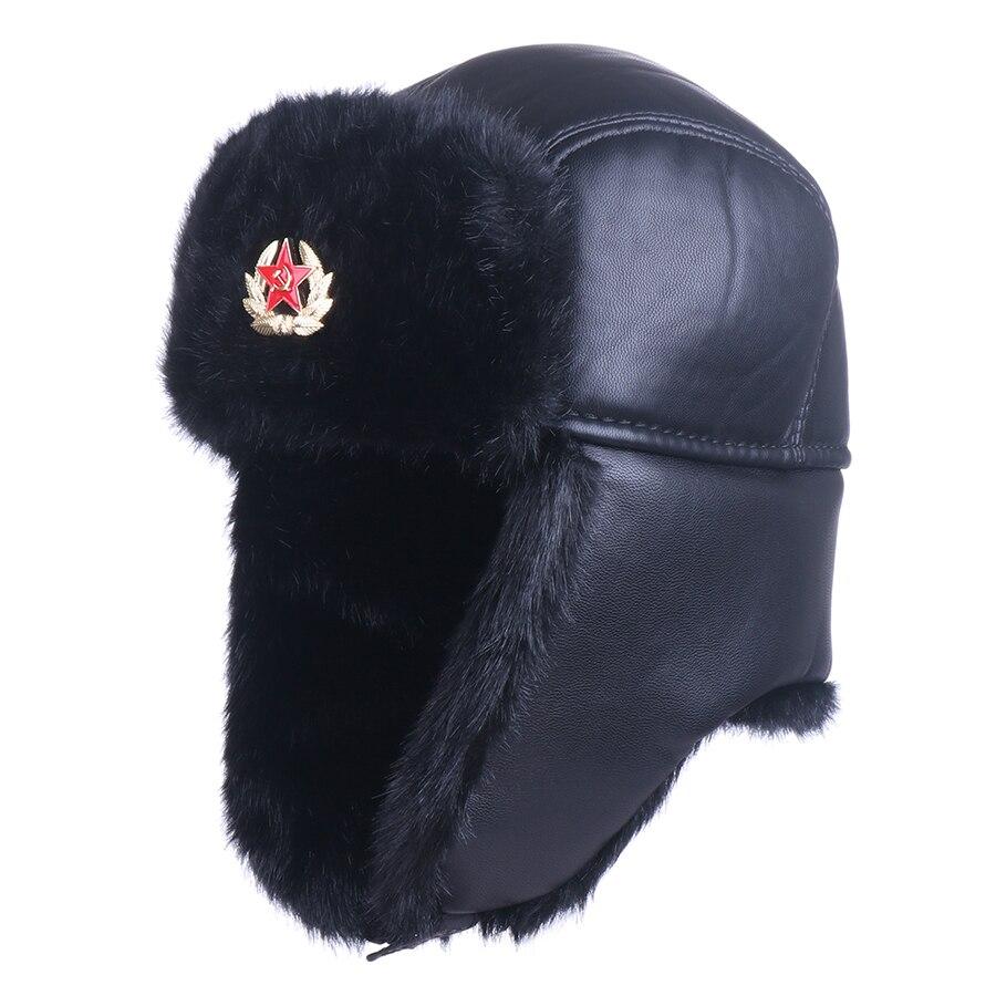🛒 Soviet Badge Ushanka Men Women Faux Fox Fur Winter Snow