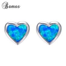 Bamos Women Heart Stud Earring Blue Fire Opal Earrings 925 S
