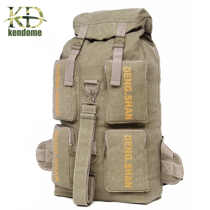Outdoor Travel Luggage Backpack Canvas Hiking Camping Tactical Rucksack Military Backpack mochila Multifunction Sports Handbag 65l outdoor sports multifunctional heavy duty backpack military hiking