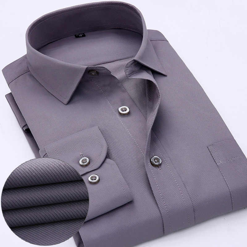 メンズワークシャツブランドソフトロングスリーブスクエア襟の正規ソリッド無地/ツイル男性ドレスシャツ白人男性トップス