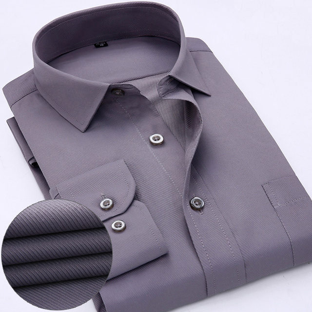 Mens work shirts Brand Long sleeve striped /twill men dress shirts white male shirts 4xl 13colors