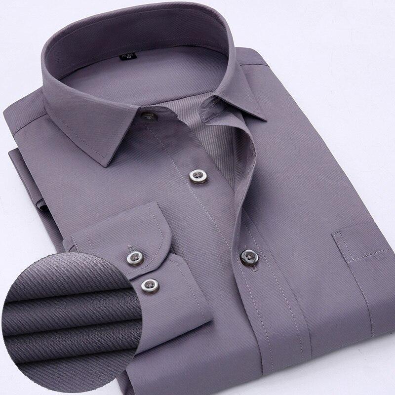 56578cf0e New Chegou 2018 mens camisas de trabalho Marca macio collar Longo praça da luva  regular listrado twill dos homens camisas de vestido branco blusas ...