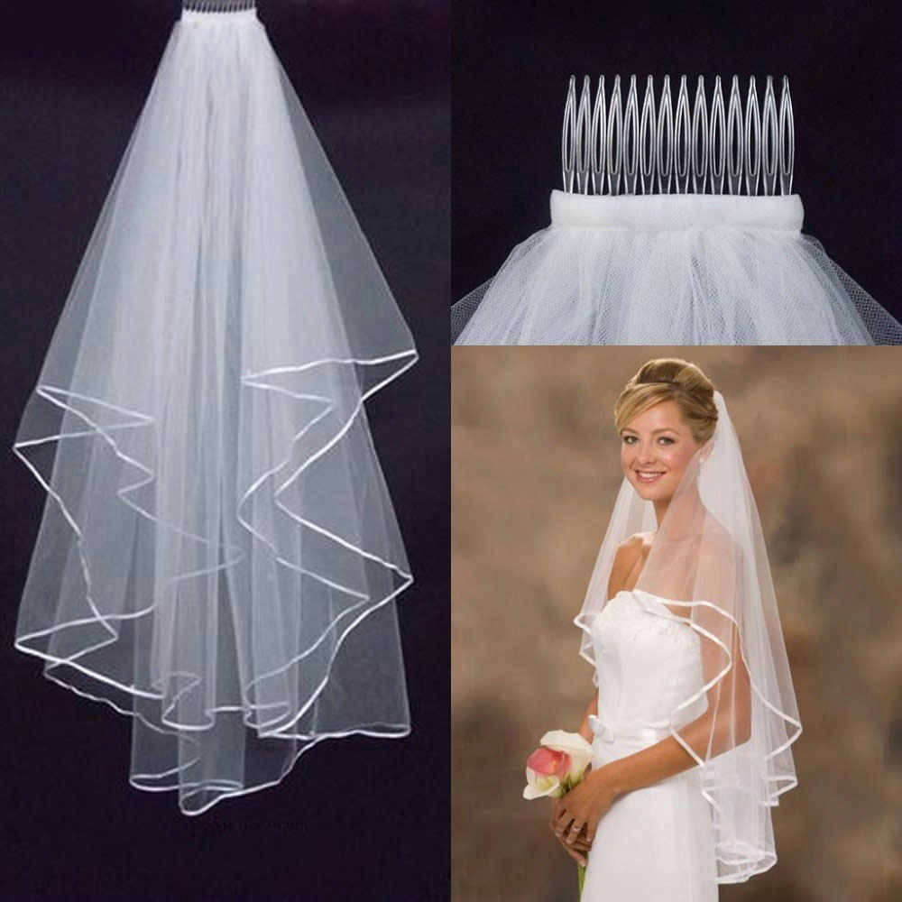 2019 Wedding Simple Tulle White Ivory Two Layers Bridal Veil Ribbon Edge Cheap Bride Accessories 75cm Short Women Veil With Comb