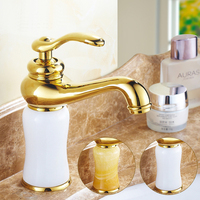 European Yellow White Jade Marble Basin Faucet Hot And Cold Mixer Water Tap Copper Gold Plated