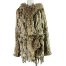 HARPPIHOP * 2019 משלוח חינם ליידי סרוג אמיתי ארנב פרווה מעיל/מעיל/outware עם הוד נשים חגורה ארוך עם גדילים
