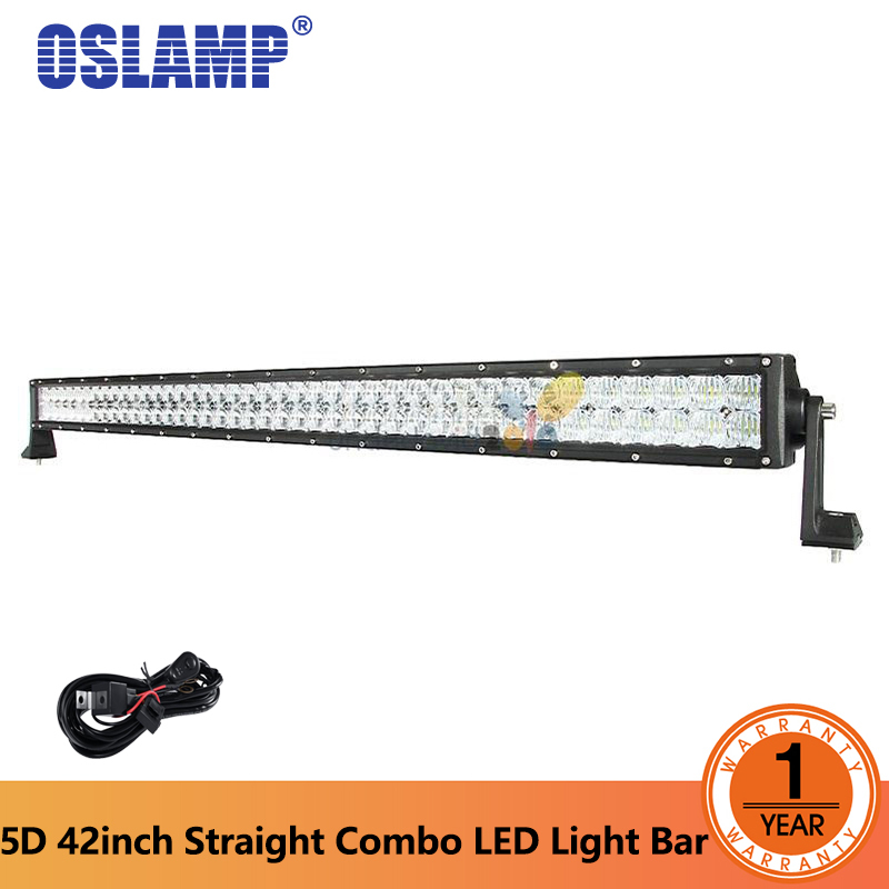 Oslamp 42 400W 5D LED Light Bar Straight Combo Beam Bar Light For Offroad 4x4 4WD pickup Trailer SUV ATV 12v 24v Driving Light