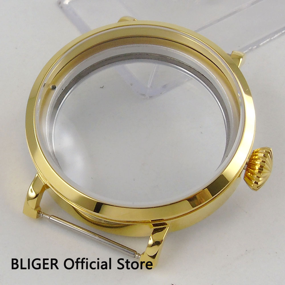 BLIGER 46MM 316L Stainless Steel Gold Plated Case Polished Watch Case Fit For ETA 6497 6498 Hand Winding Movement C45 46mm matte silver gray stainless steel watch case fit 6498 6497 movement watch part case with mineral crystal glass