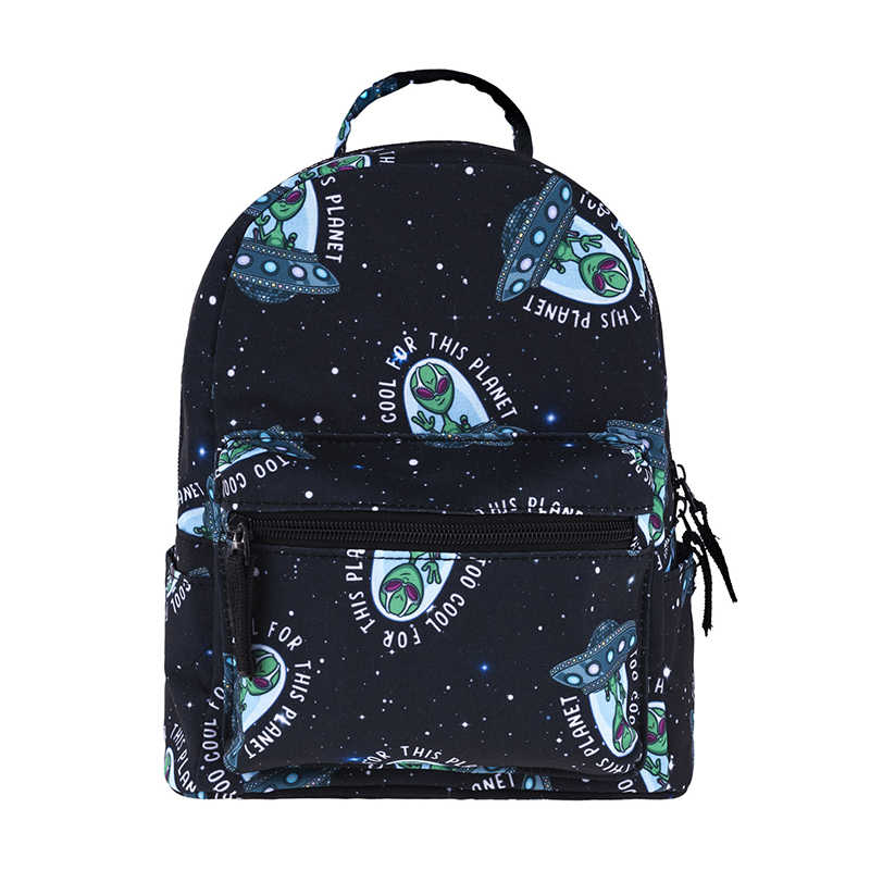 Small Backpack Cool Alien Pattern Mini Backpack for Kids Schoolbag Fashion  Cute Boy Black Book Bags