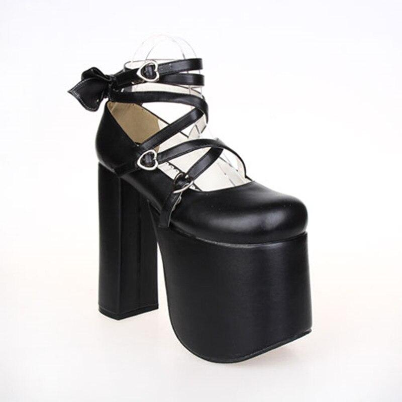 ญี่ปุ่น Punk Lolita คอสเพลย์รองเท้า Criss Cross Super หนา 15 ซม. Gothic Queen ปั๊ม-ใน รองเท้าส้นสูงสตรี จาก รองเท้า บน   2