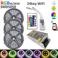 15M RGBW SMD 5050 LED Strip Light  IP20 DC12V 60Leds/M 300LEDs Flexible Light strip RGB White/WW+wifi 24key controlle+10A power