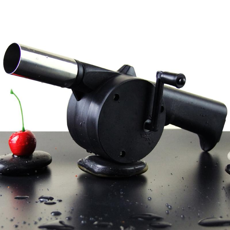 Stainless Steel BBQ Manual Blower Outdoor Barbecue Grill Fan Air Blower Camping Picnic Hand Crank Powered Air Blower BBQ Tools