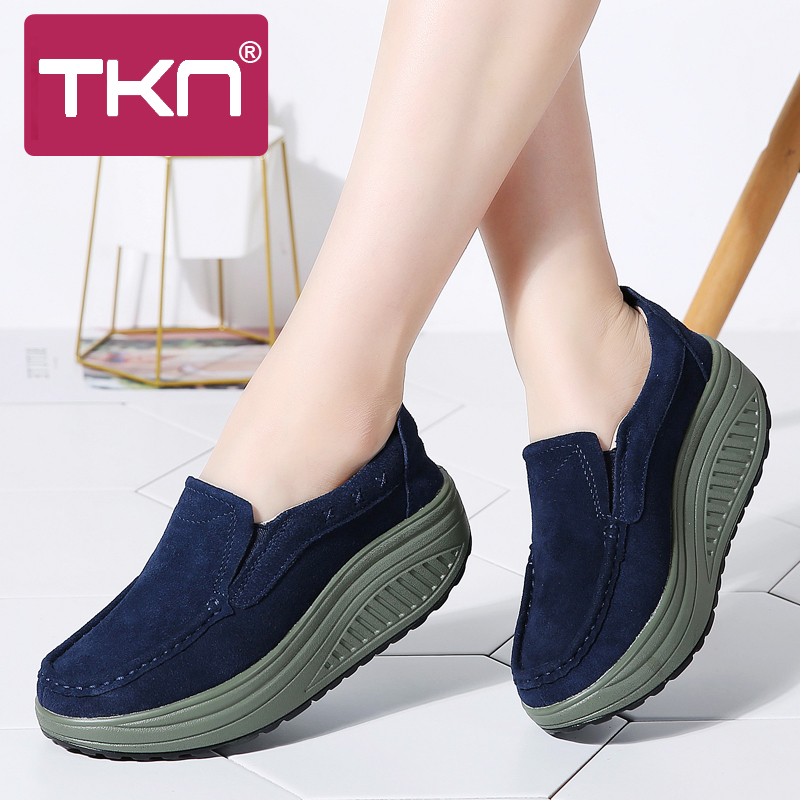 Spring women flats shoes ladies sneakers   leather     suede   slip on flat platform chaussure femme creepers shoes moccasins woman 2122