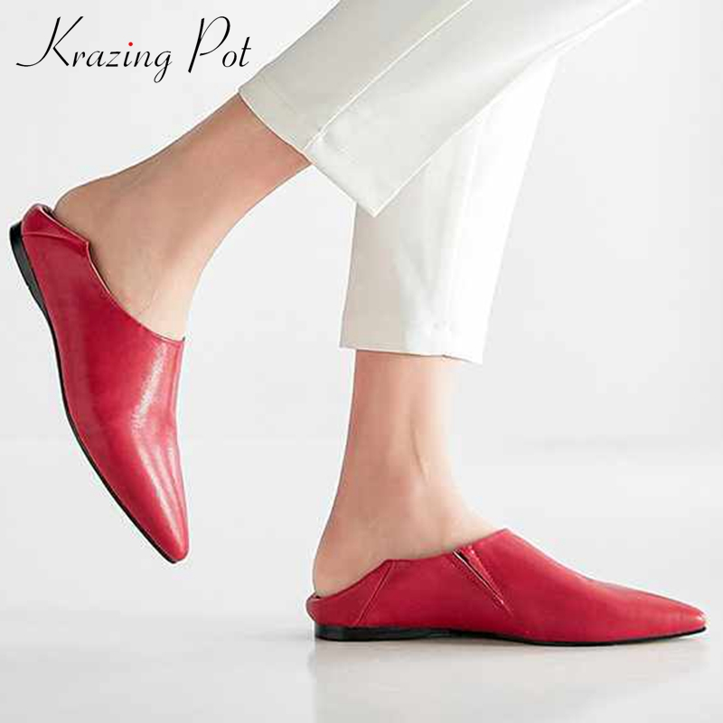 Krazing Pot Soft Genuine Leather Slip On Pointed Toe Women Flats Spring Autumn Flats Plus Size Concise Brand Driving Shoes L6f1