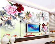 beibehang Premium Creative Wallpaper Aestheticism Home and Rich Peony Poultry Figure TV 3d wallpaper Background papel de parede