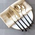 5 Unids/set Juegos de Cubiertos Vajilla de Acero Inoxidable de Calidad Estupenda Negro Mango de Oro Cubiertos Vajilla Postre Cuchara Tenedor Cuchillo