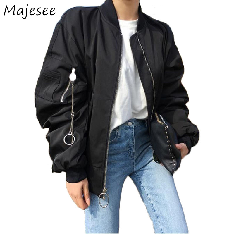 Hip Hop BF Style Zipper Solid Color   Basic     Jackets   Casual Loose   Jacket   Women Pockets Coat Womens Cool New Fashion Trendy Korean