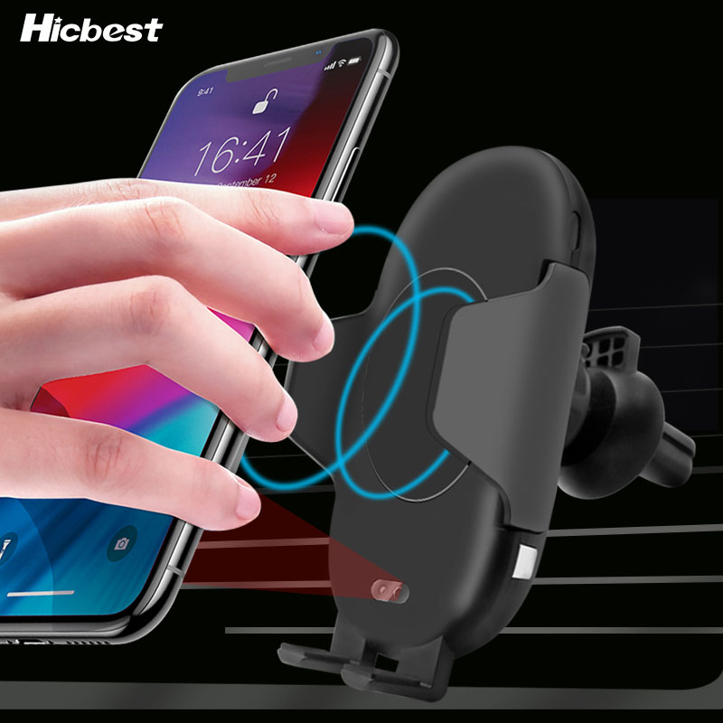 10W Qi Wireless Charger Car Phone Holder for iPhone 8 X XR XS Infrared Fast Wireless Charging Car Charger for Samsung S9 S8 S10-in Mobile Phone Chargers from Cellphones & Telecommunications