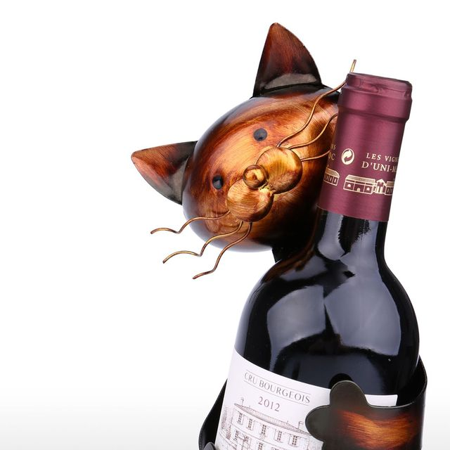 Cat Wine Holder Metal Sculpture