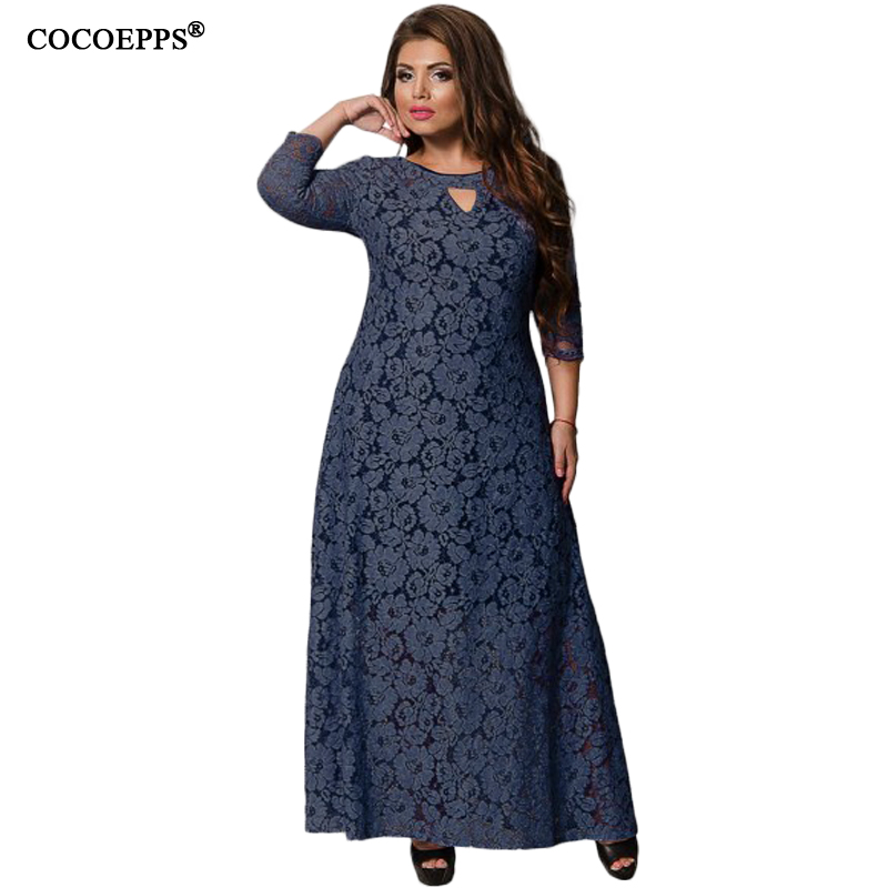 US $19.98 30% OFF|5XL 6XL 2019 New Women Long Dress Spring Summer Lace Plus  Size Dress Fashion Party large size Maxi Dresses big size Girl Clothes-in  ...