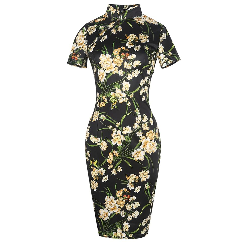 Oxiuly sieviešu modes kleita Vintage Bodycon kleitas ziedu apdruka - Sieviešu apģērbs - Foto 2