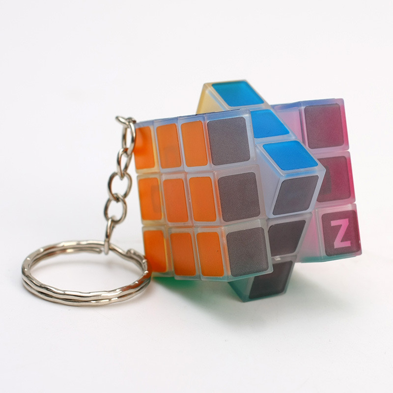 3x3x3 Mini Pocket Magic Cube Keychain Pendant Speed Puzzle Magic Cube Glow In The Dark Puzzle Toys Backpack Car Decor Pendant