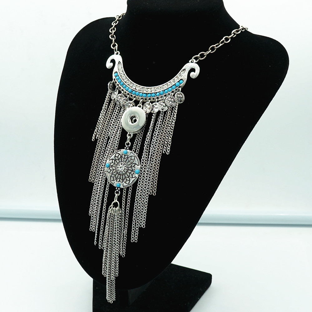 New Dj0090 Beauty Fashion Bohemian Style Tassel Elegant Snap Necklace 40cm Fit Diy 18mm Beauty