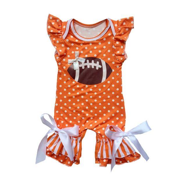 fcce7fdff785 Baby polka dot football Touchdown Romper flutter sleeve ruffle ...