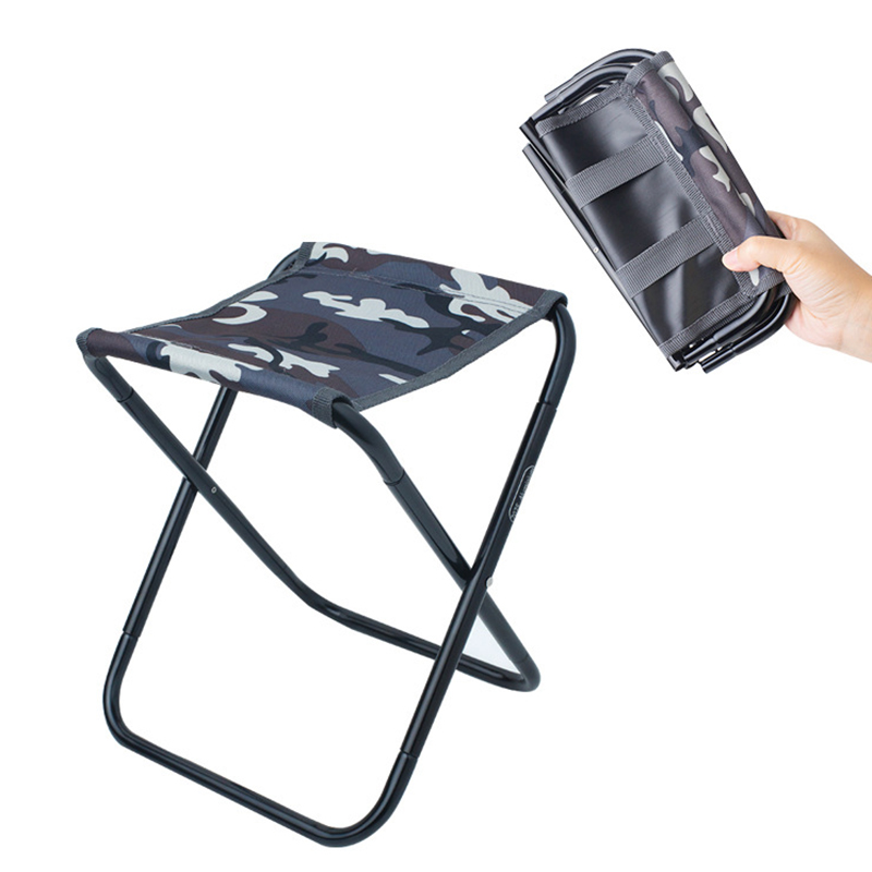Outdoor Portable Camping Chair Fishing Foldable 7075 Al Train Travelling Light 100kg Small Seat Oxford 7075 Al Camouflage Chair