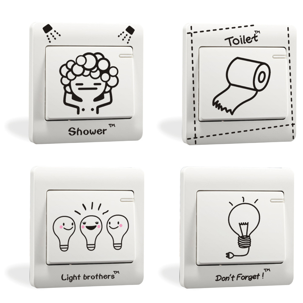 % DIY Funny toilet shower light Comics Side Light Side Switch Wall Stickers Home Decorat ...