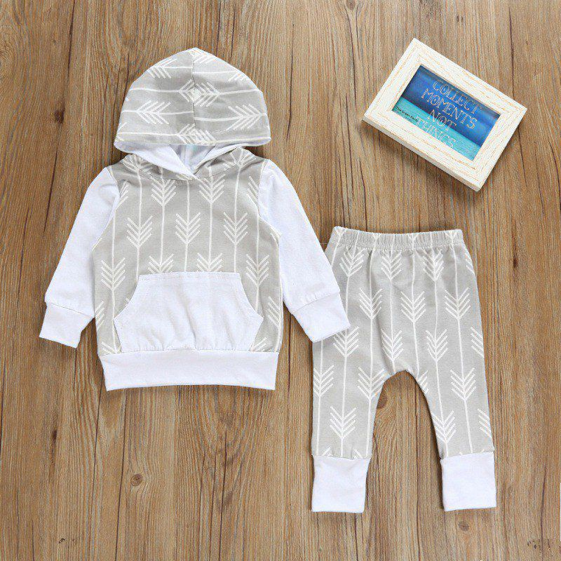 Autumn Infant Newborn Baby Boys Print Hoody Clothes Sets 100% Cotton Casual Kids Children Baby Clothing Sets 0-24M 2pcs/set