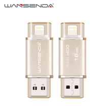 Wansenda 2 in 1 OTG USB Flash Drive metal pen drive 64GB 32GB 16GB high quality usb 2.0 Pendrive for iPhone/IOS/PC with package