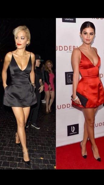 Sexy V Neck Spaghetti Strap Orange Red Satin A Line Mini Short Celebrity Dress Selena Gomez Red Carpet Dresses