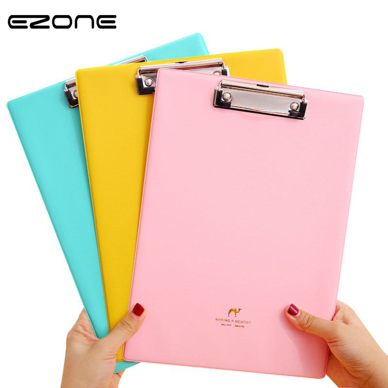 EZONE A4 File Folder Macaron Contract Straight Plate Writing Board Clip File Kids Gift School Office Paper File Business Supply candy color clipboards a4 notes folder write sub plate wordpad stationery clip file paper file folder holder school supplies