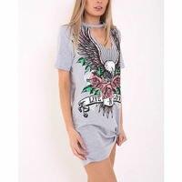 New T Shirt Dress 2017 Ukraine Summer Casual Ladies Short Sleeve Floral Printed Mini Straight Cotton