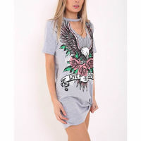 New T Shirt Dress 2017 Ukraine Summer Casual Ladies Short Sleeve Floral Printed Mini Straight Cotton