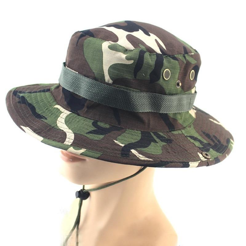 1 pcs Fishing Hiking Boonie Snap Brim Military Bucket Wide Brim Sun Beach Hat Cap Woodland Camo Hot