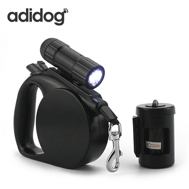 2017 New Pet Dog Leash LED Light & Clean-up Bag Retractable Leash For Small Medium Dogs Collar Products Harness Strong Chain R