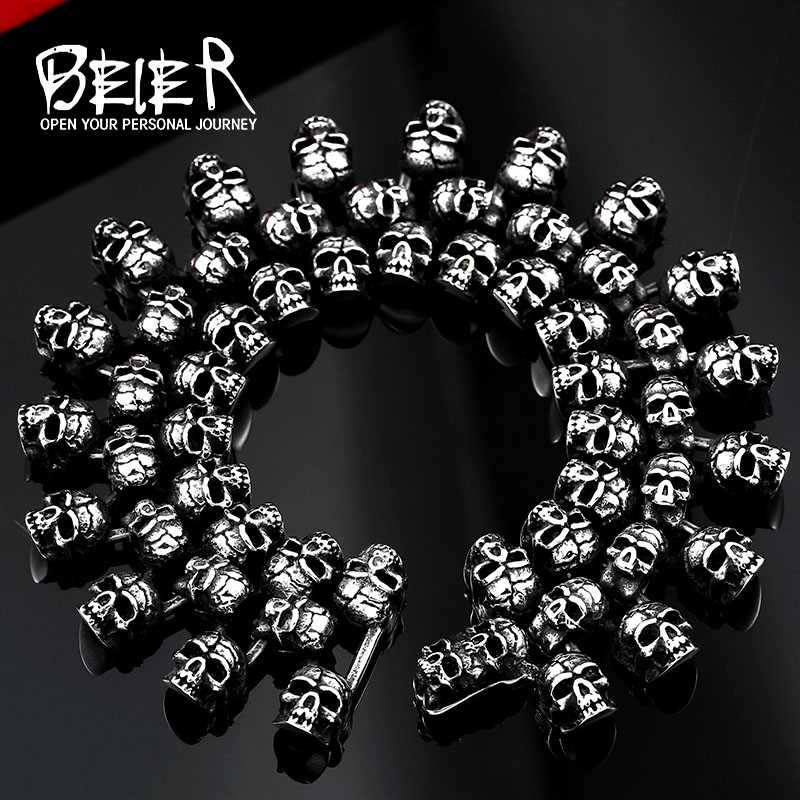 Beier 316L Stainless Steel bracelet punk skull Bracelet for Man Fashion Jewelry LLBC8-008R vikita brand new girl dresses 100% cotton girls butterfly cartoon dress toddlers summer short sleeve patchwork dresses sh4554