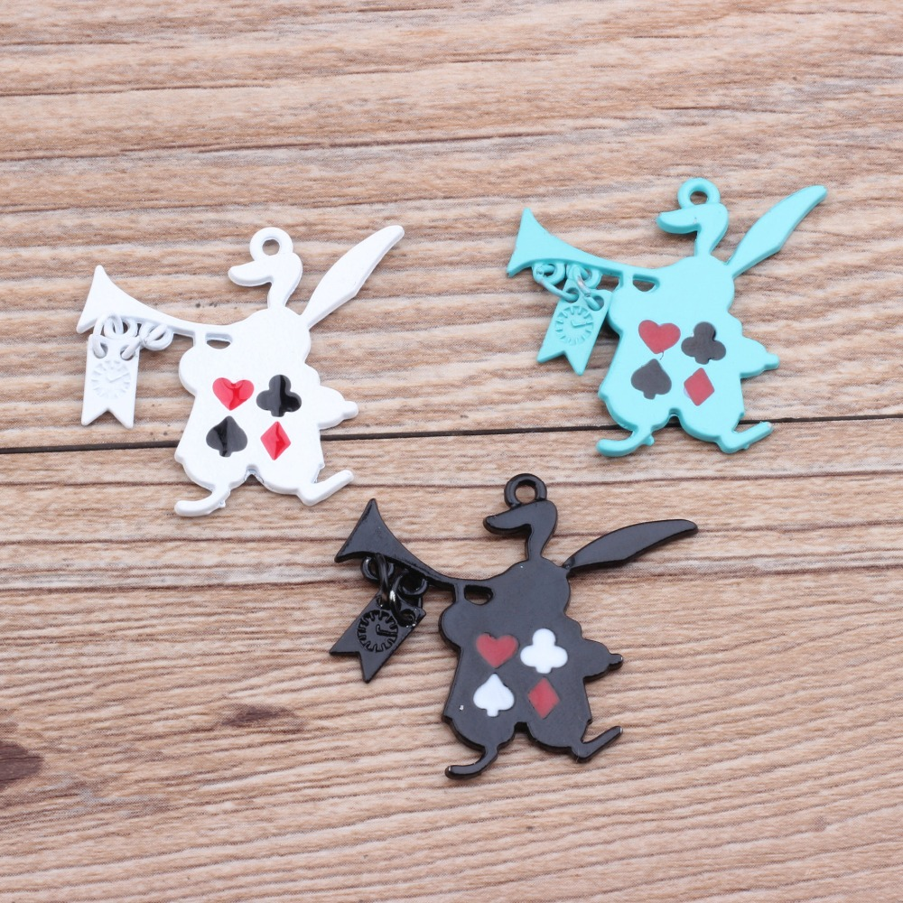 Free Shipping Kawaii Alloy Jewelry Charms 31*30MM Enamel Music Poker Animal Rabbit Charm Pendant Fit Bracelet Necklace Earring