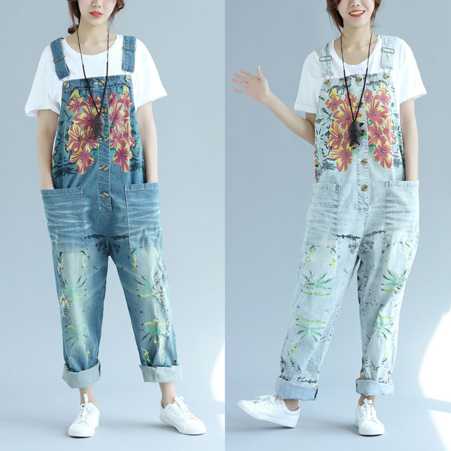 247f22666a1a Free Shipping 2017 New Fashion Flower Print Denim Bib Pants Long Trousers  Loose Plus Size Jumpsuit And Rompers Summer Pants