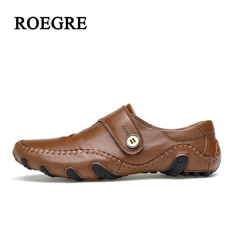 ROEGRE Men's Shoes Handmade Leather Jacket Autumn Shoes Men Genuine Leather Shoes Suture Extra Large Tide Code Men Casual Pure S