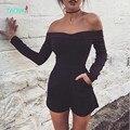 TAOVK 2016 novas Mulheres moda Macacão e Macacão Moda strapless Cor Sólida Calções de Verão