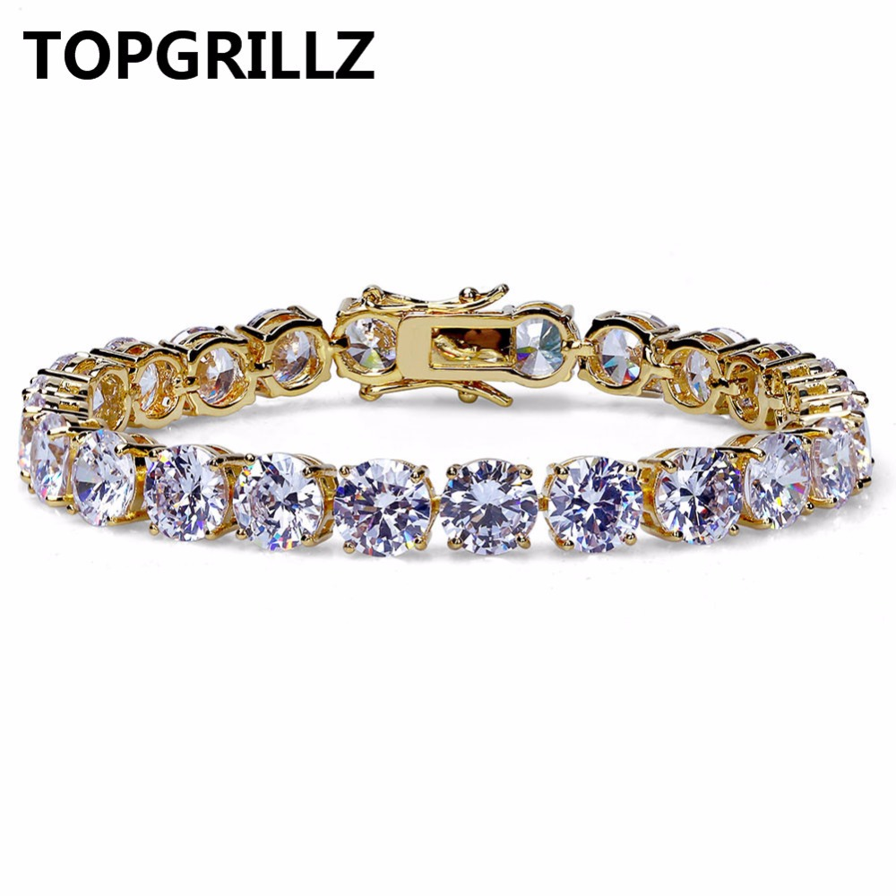 TOPGRILLZ Gold/Silver Color Plated Iced Out Bling Jewelry Bracelet HipHop Micro Pave CZ Stone 8mm Tennis Chain Bracelets For Men