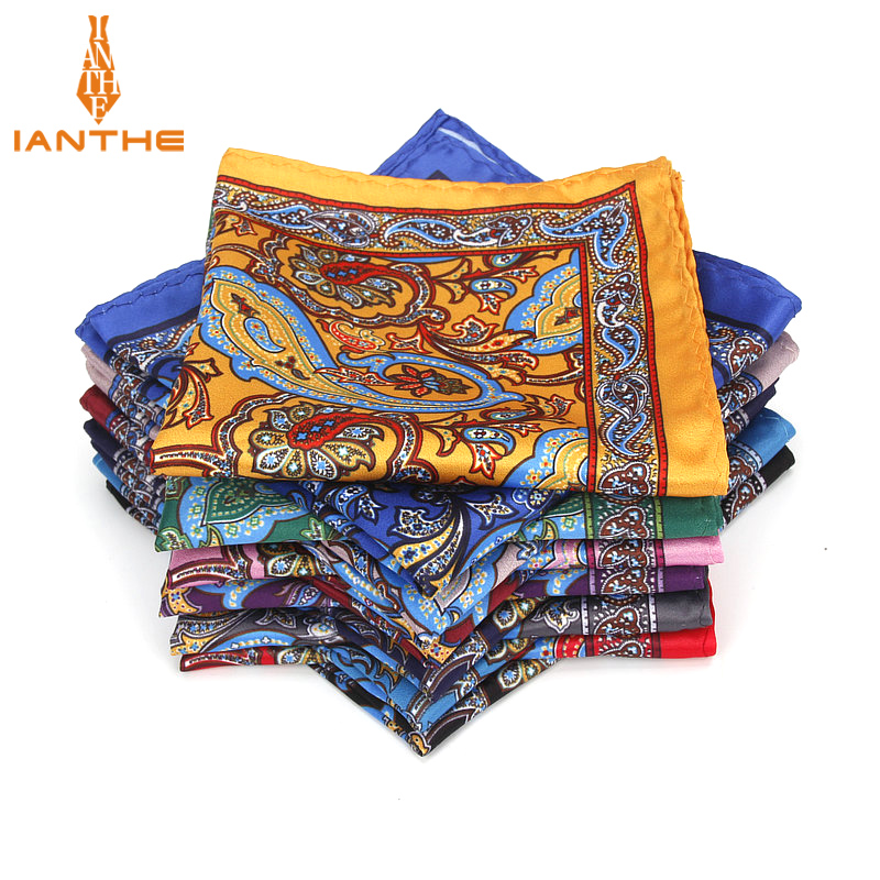 Brand New Men's Handkerchief Vintage Paisley Pocket Square Soft Hankies Wedding Party Business Artificial Silk Chest Towel Gift