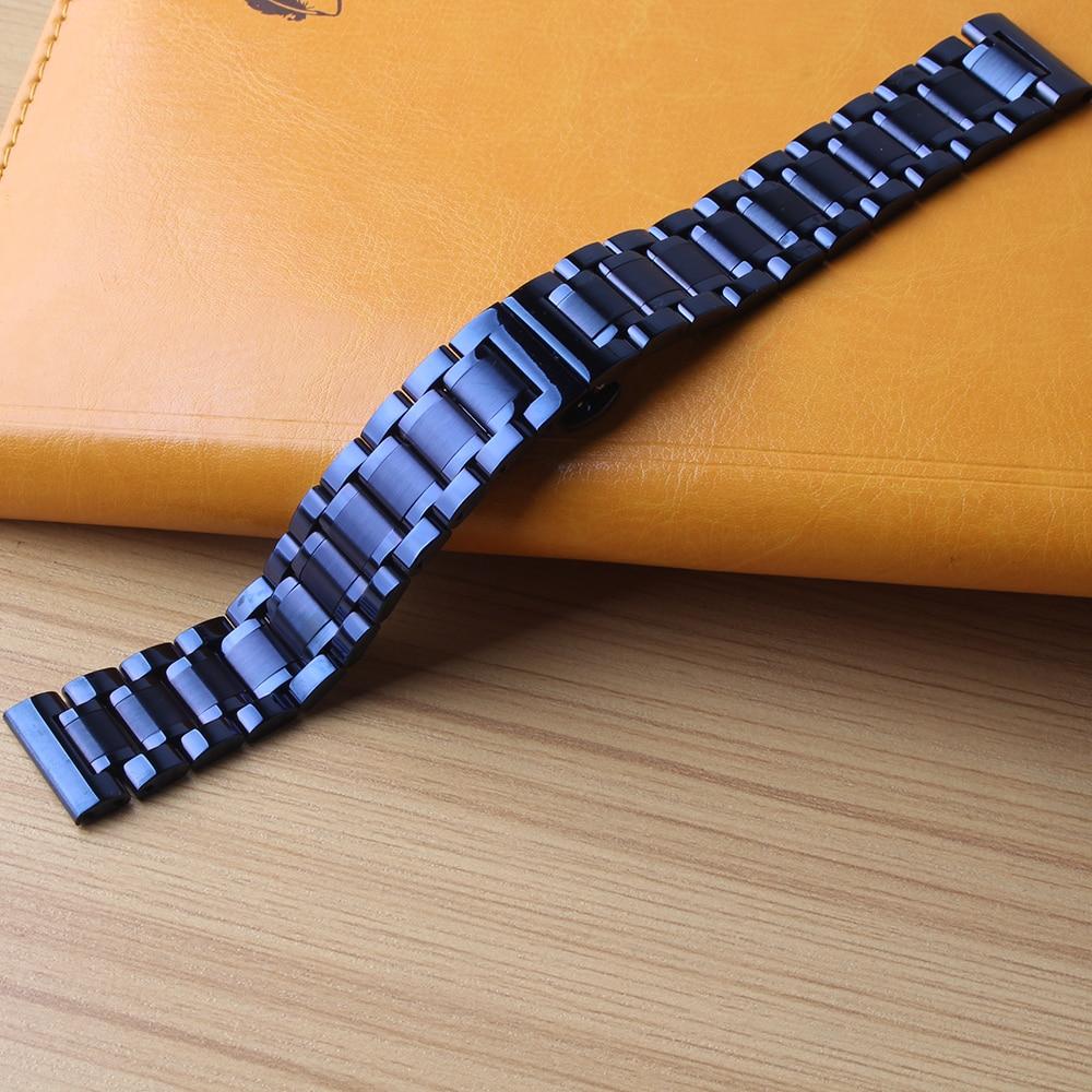 Dark Blue Stainless steel Watchbands Strap 20mm 22mm straight ends fit common sport watches women men top grade butterfly buckle napapijri guji check dark blue