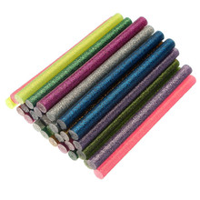 30pcs 7*100mm Colorful Flash Mix Color Hot Melt Glue Stick Mobile Beauty DIY Tools Highly Viscous Adhesive Strips(China)