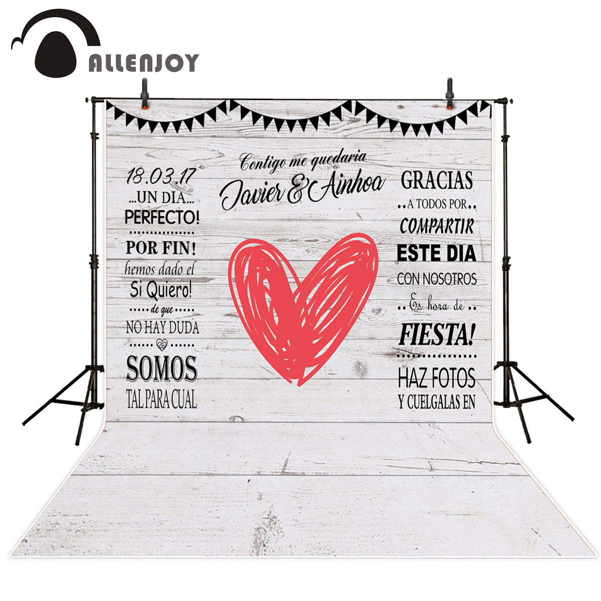 Allenjoy backdrops Szerelem szív egyéni fehér tábla romantikus - Kamera és fotó