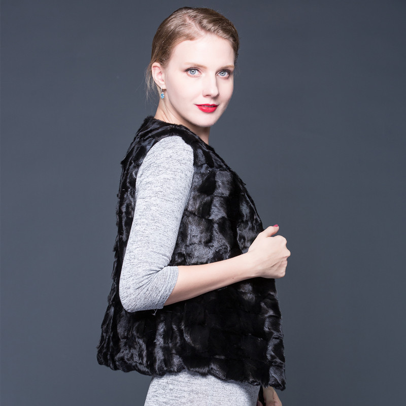 Fourrure Nouveau Manteau Réel Luxe Vente Vraie 2018 Noir cou O Femmes La D'hiver Régulier Véritable Châle De Veste E8dEcq