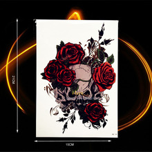 1PC Henna Skull Gun n Roses Rock Waterproof Fake Tattoo Women Body Art ARm Sleeve Tattoo Stickers HHB-141 Red Sexy Rose Flower